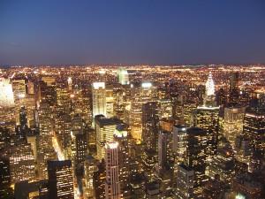Blick auf das nächtliche New York