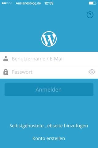 Wordpress Startbildschirm