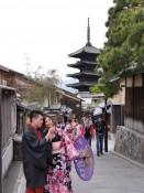 Paar im Leih-Kimono