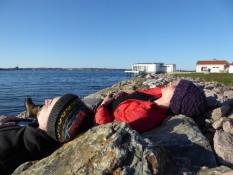 Relaxing in the evening-sun - Nina and Rasmus