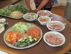 Gemüse und Fleisch/Fisch