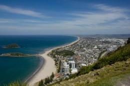 Blick auf ocean Beach und Tauranga