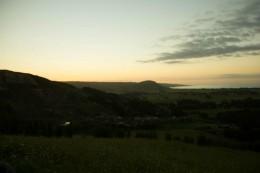 Sonnenuntergang auf dem Berg, Blick aufs Meer in Ahipara