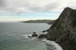 Ein Blick zurück auf die Catlins Coast