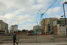 Kran und Baustellen, kein seltener Anblick in Christchurch