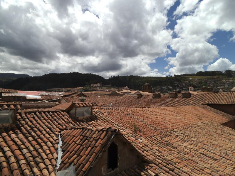 Blick vom Hostel über Cusco