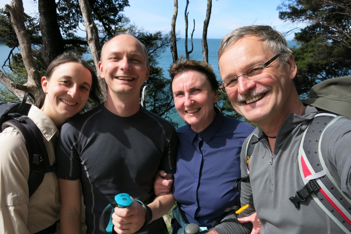 Familienselfie im Abel Tasman Nationalpark