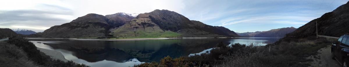Panoramafoto auf dem Weg nach Wanaka