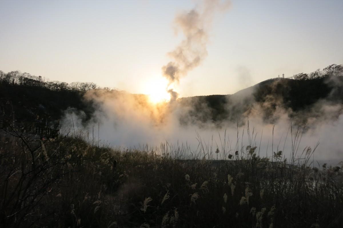 Sonnenuntergang beim See Oyunuma (Noboribetsu)