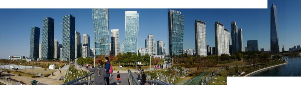 Ein Panorama der Skyline von Songno