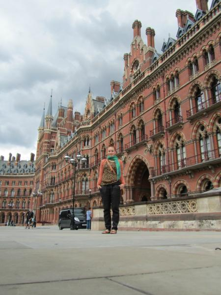 Me! in front of St Pancras.
